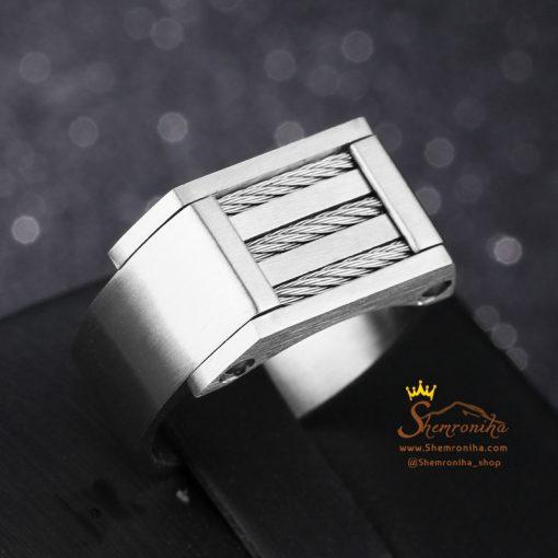 انگشتر حلقه مردانه چهار لاین سیلور و مشکی