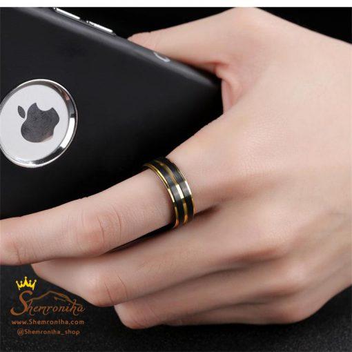 انگشتر حلقه مردانه چهار لاین گلد و مشکی
