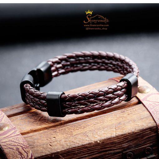 دستبند بافت قهوه ای