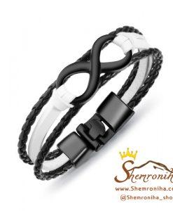 دستبند بینهایت چرم سفید