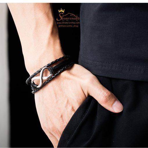 دستبند بینهایت چرم قهوه ای