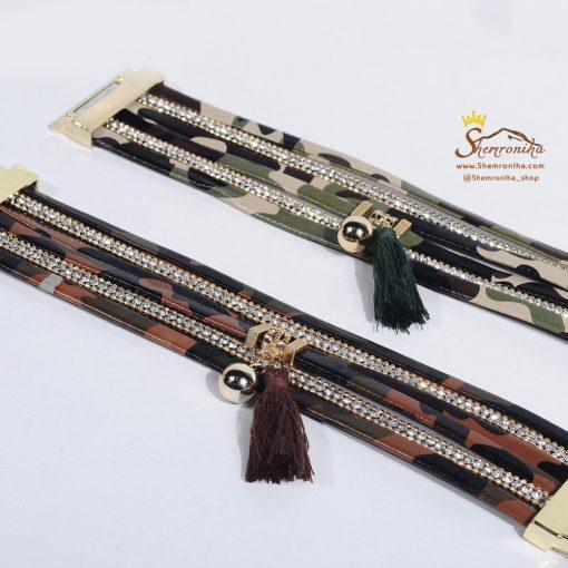 دستبند چند رشته سبز پلنگی با آویز ریش ریش