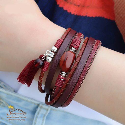 دستبند چرم چند رشته سفید آویز ریش و سنگ