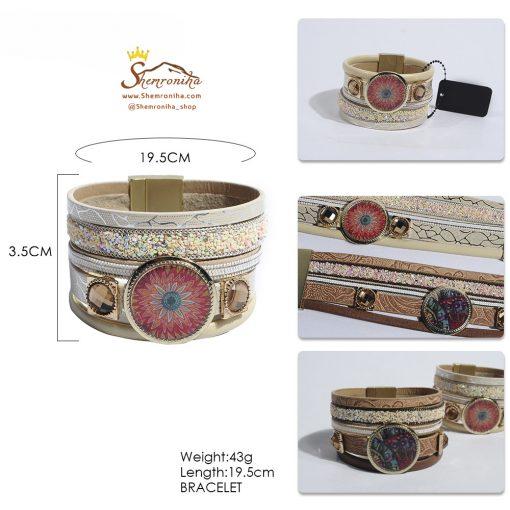 دستبند چند رشته و گل