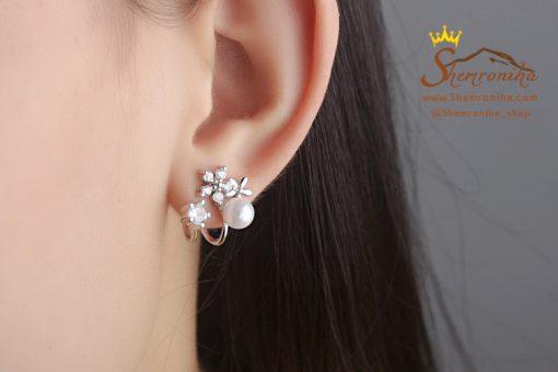 گوشواره کلیپسی گل سیلور