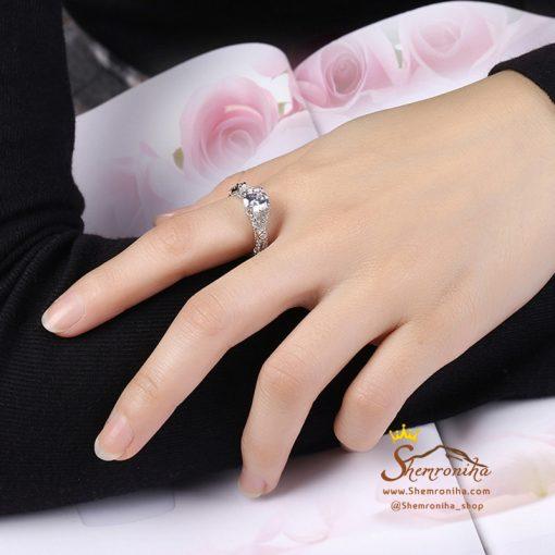 انگشتر نقره سولیتر دو رنگ