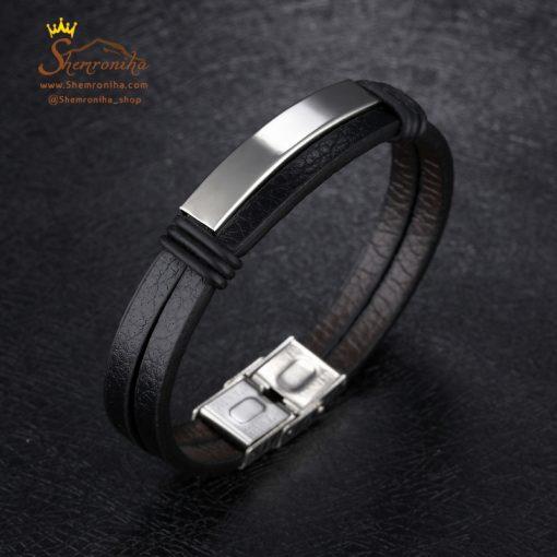 دستبند چرم دو رشته مشکی