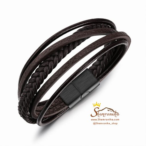 دستبند چرم چند رشته قهوه ای