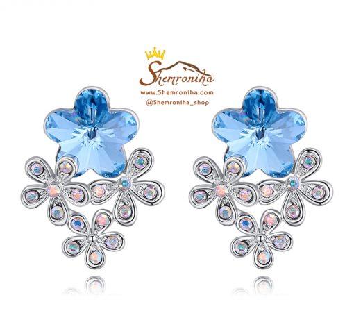 گوشواره گل کریستال المنت سواروسکی آبی