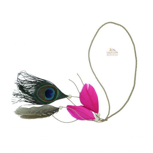 تزیینات مو سرخپوستی پر طاووس و پر صورتی