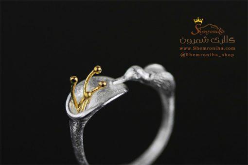 انگشتر نقره پرنده و گل