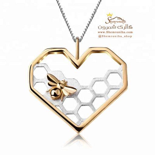 گردنبند نقره زنبور و قلب