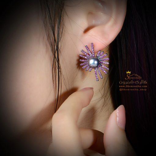 گوشواره گل و مروارید کبود