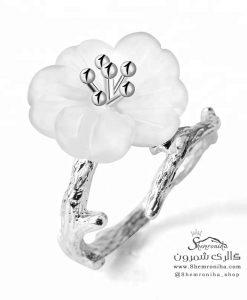 انگشتر نقره گل سفید