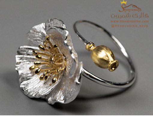 انگشتر نقره گل