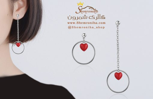 گوشواره نامقارن قلب و حلقه