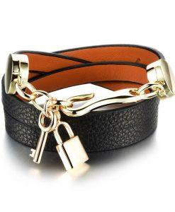 دستبند چرم دو رشته آویز قفل و کلید مشکی