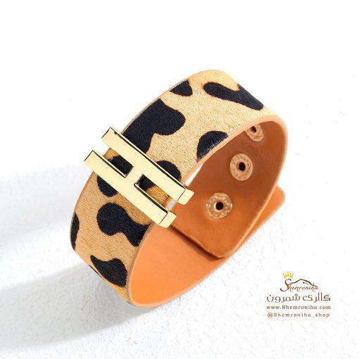 دستبند پلنگی چرم پهن