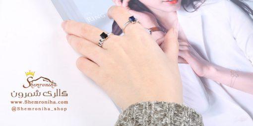 انگشتر نقره ترکیب بافت و رینگ آبی