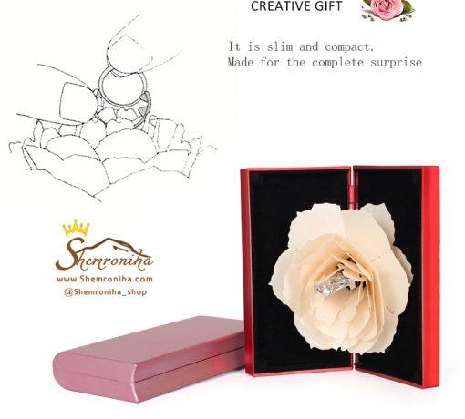 جعبه حلقه نامزدی گل رز جادویی