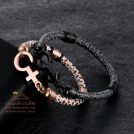 دستبند چرم پوست ماری رزگلد Versace