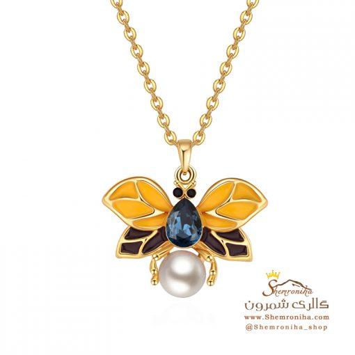 گردنبند پروانه و مروارید با نگین آبی