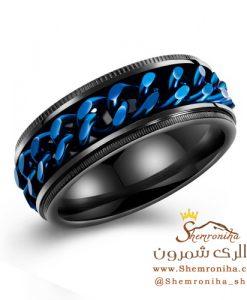 انگشتر مردانه مشکی و آبی