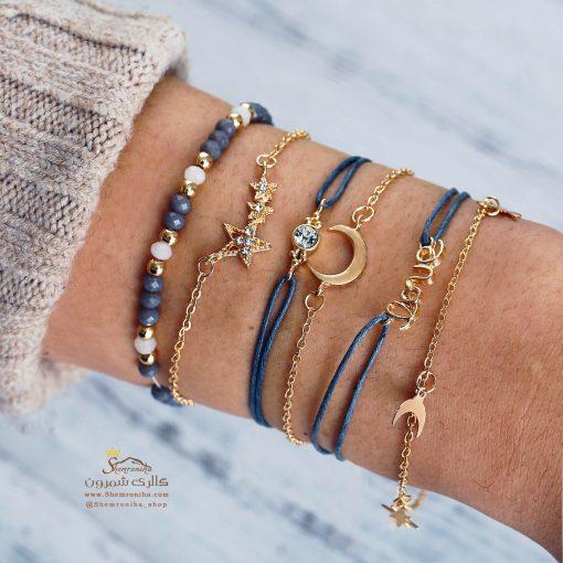 پک دستبند ۶ تکه جیپسی ماه و ستاره