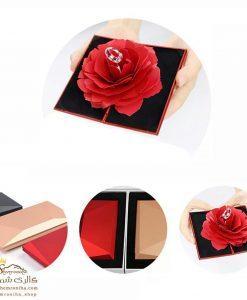 جعبه حلقه نامزدی گل رز جادویی لوکس قرمز