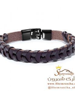 دستبند مردانه بافت قهوه ای
