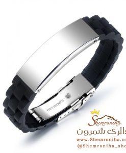 دستبند مردانه مشکی با پلاک سیلور