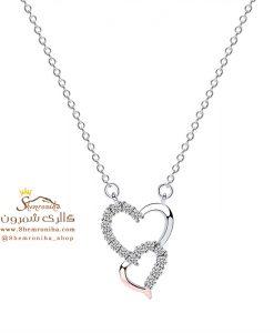 گردنبند نقره زنانه دو قلب