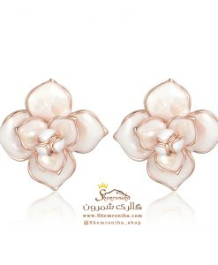 گوشواره زنانه گل و اویز رزگلد