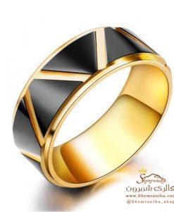 انگشتر مردانه زنانه مشکی و گلد