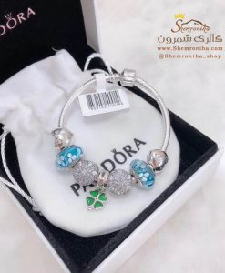 دستبند زنانه پاندورا با آویز شبدر