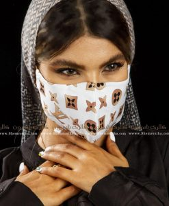 ماسک صورت پارچه ای لویی ویتون سفید قهوه ای