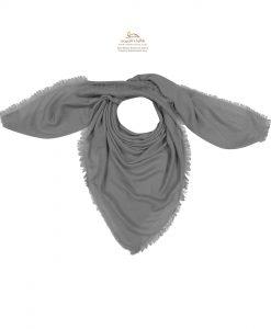روسری نخی طوسی روشن ساده