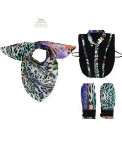 ست روسری، ساق دست و یقه طرح رنگارنگ