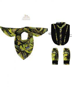 ست روسری، ساق دست و یقه مدرن مشکی و زرد