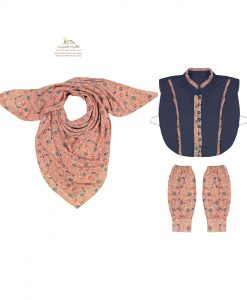 ست روسری، ساق دست و یقه گل گلی زمینه صورتی شاد