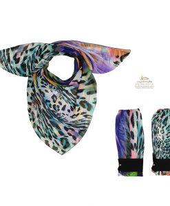 ست روسری و ساق دست طرح رنگارنگ