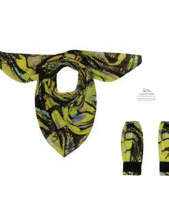 ست روسری و ساق دست مدرن مشکی و زرد