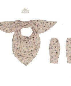 ست روسری و ساق دست گل گلی با زمینه صورتی و گل ریز
