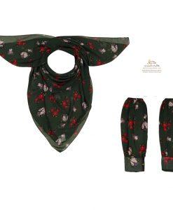ست روسری و ساق دست گل گلی با زمینه مشکی