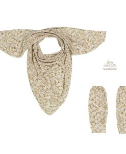 ست روسری و ساق دست گل گلی زمینه سفید با گل زرد