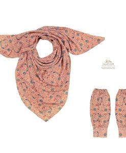ست روسری و ساق دست گل گلی زمینه صورتی شاد
