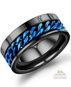 انگشتر مردانه مشکی با طرح آبی