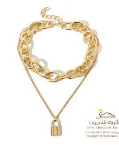 گردنبند زنانه زنجیری درشت و قفل گلد