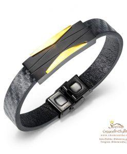 دستبند مردانه پلاک مشکی گلد