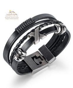 دستبند چرم مردانه چند رشته
